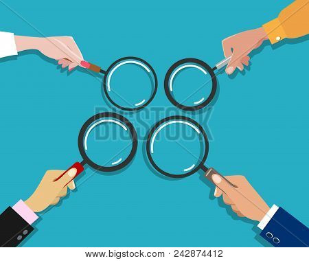 Hand Holding Magnifying Glass. Businessman Hands With Magnifiers Vector Illustration For Searching,