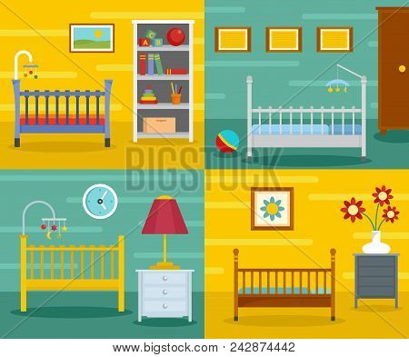 Baby Crib Cradle Bed Banner Concept Set. Flat Illustration Of 4 Baby Crib Cradle Bed Vector Banner H