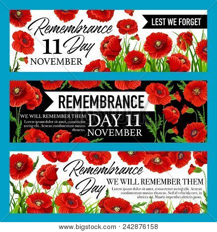 Remembrance Day Lest We Forget Banner With British Legion Red Poppy Flower. Floral Memorial Card For