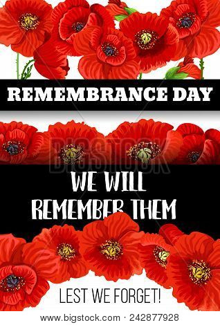 Remembrance day vector photo free trial bigstock remembrance day greeting card of poppy flowers for 11 november commonwealth veterans memorial and le mightylinksfo