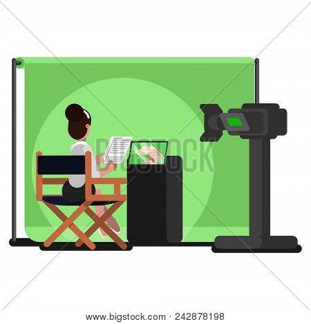 Woman Producer Reads Script. Vector Color Illustration, Eps 10