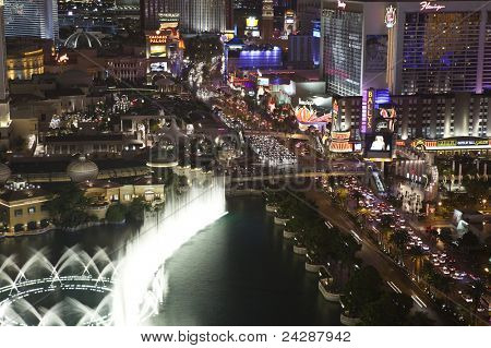 LAS VEGAS, NEVADA - OCT 6:  Caesars Palace, Bellagio and Flamingo resorts on the strip. Vegas has 147,611 hotel rooms with a average daily rate of $106 on October 6, 2011 in Las Vegas, Nevada.