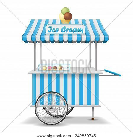 Realistic Street Food Cart With Wheels. Mobile Blue Ice Cream Market Stall Template. Ice Cream Marke