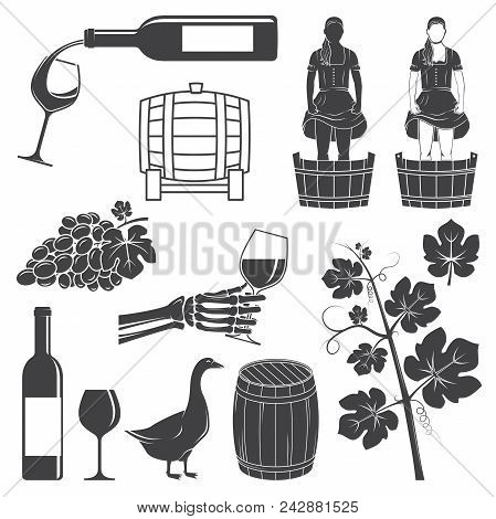 Set Of Wine Silhouette Icons. Set Include Girl Stomping, Crushing Grapes, Barrel, Goose, Grape With