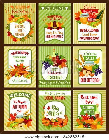 Autumn Sale Retro Poster Set Of Thanksgiving Holiday Special Offer. Fall Harvest Pumpkin And Corn Ve