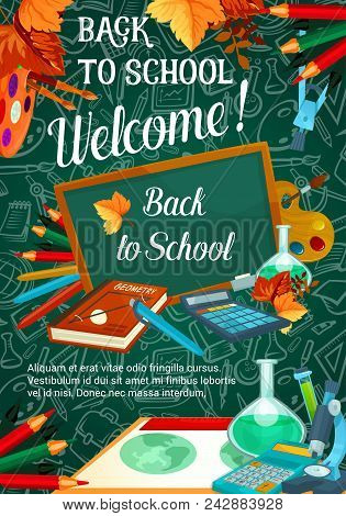 Back To School Sale Promo Web Banner For September Autumn Seasonal School Store Discount Offer On Gr