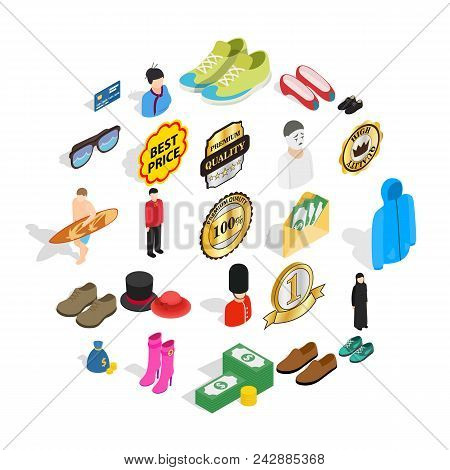 Buying Clothes Icons Set. Isometric Set Of 25 Buying Clothes Vector Icons For Web Isolated On White