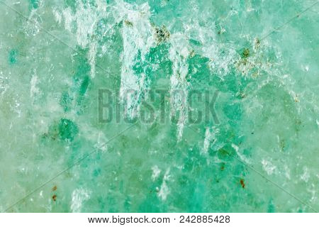 The Mineral Is Jadeite. The Texture Of The Mineral. Macro Shooting Of Natural Gemstone. The Raw Mine