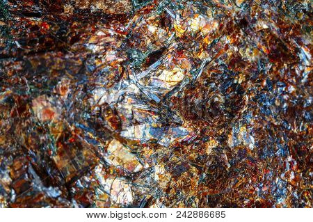 Astrofillit Mineral Khibiny Mountains. The Texture Of The Mineral. Macro Shooting Of Natural Gemston