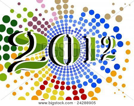 abstract colorful dotted effect concept background for happy new year 2012