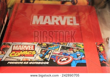 St. Petersburg, Russia - May 19, 2018: Marvel Themed Comic Book Close Up View. Red Notebook With Mar