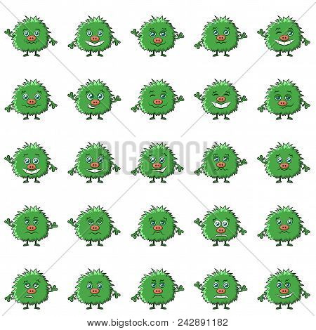 Set Of Funny Monsters Smilies, Symbolizing Various Human Emotions And Moods, Cartoon Green Character