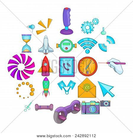 Progressive Technology Icons Set. Cartoon Set Of 25 Progressive Technology Vector Icons For Web Isol
