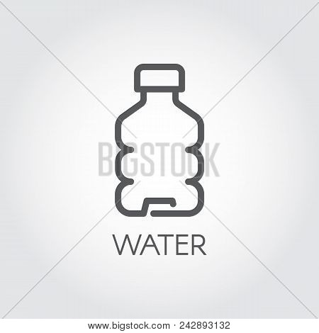 Water Bottle Contour Icon. Plastic Or Glass Container For Abstract Beverage. Contour Drink Emblem Fo