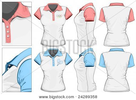 Vector. Women's polo-shirt design template (front, back and side view). No mesh.
