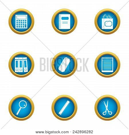 Book Accounting Icons Set. Flat Set Of 9 Book Accounting Vector Icons For Web Isolated On White Back