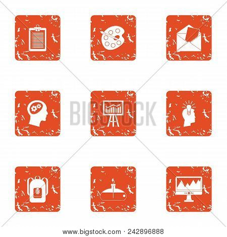 Secondary School Icons Set. Grunge Set Of 9 Secondary School Vector Icons For Web Isolated On White