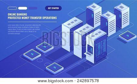 Big Modern Data Center, Server Room, Cloud Data Storage Files Service, Data Rpocessing Isometric Vec