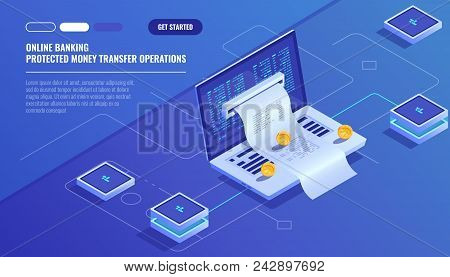 Internet Payments, Protection Money Transfer, Online Bank, Budget Accounting, Electronic Bill, Lapto