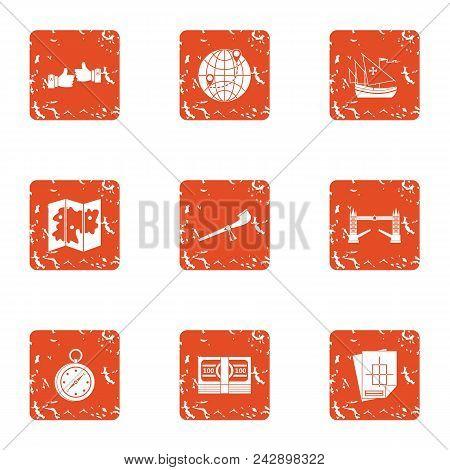 Raise Build Icons Set. Grunge Set Of 9 Raise Build Vector Icons For Web Isolated On White Background