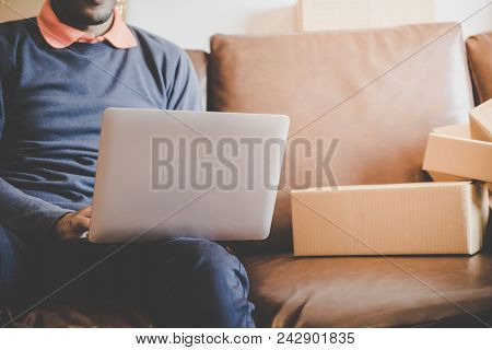 Man Is Addicted To Online Shopping, Full Of Deliveried Boxes