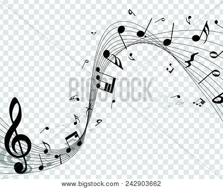 Musical Designs With Elements From Music Staff , Treble Clef And Notes In Black And White. Vector Il