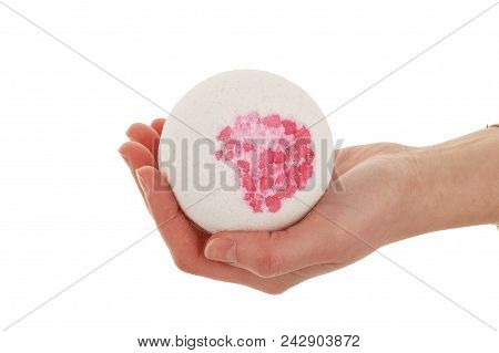 Spa Salt, Towel Flower Branch, Bath Bomb For Beauty And Health. Healthy Relaxation, Therapy And Trea