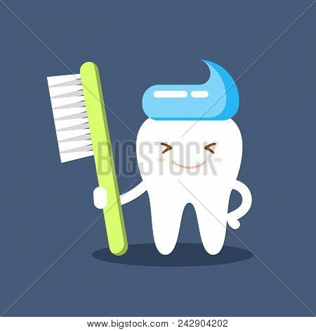 Cute Happy Smiling Tooth With Toothbrush And Toothpaste Hairstyle. Clear Tooth Concept. Brushing Tee