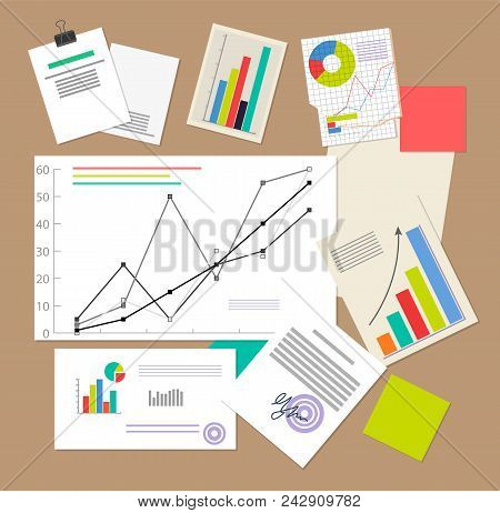 Statistic Documents, Colorful Vector Illustration, Varied Infographics And Schedules, Statistic Diag