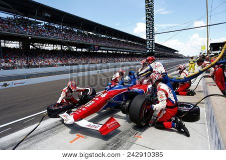 May 27, 2018 - Indianapolis, Indiana, USA: TONY KANAAN (14) of Brazil comes down pit road for service during the Indianapolis 500 at the Indianapolis Motor Speedway in Indianapolis, Indiana.