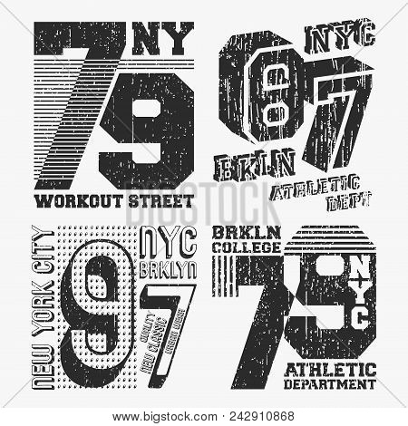 Brooklyn New York Vintage T Shirt Stamp Set. T-shirt Print Design. Printing And Badge, Applique, Lab