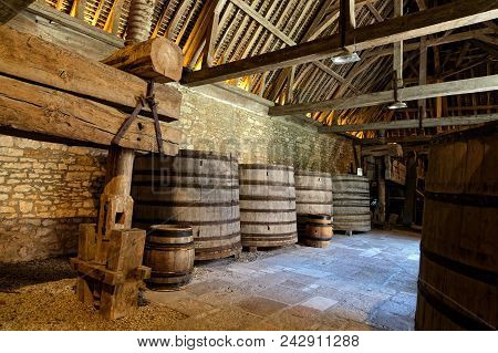 Vougeot, France, May 19, 2018 : Old Cellar Of A Winery In Burgundy.