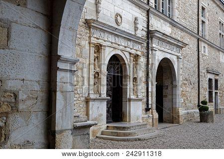 Vougeot, France, May 19, 2018 : Chateau Du Clos De Vougeot Courtyard. Clos De Vougeot Is The Largest