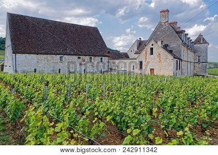 Vougeot, France, May 19, 2018 : Chateau Du Clos De Vougeot. Clos De Vougeot Is The Largest Single Vi