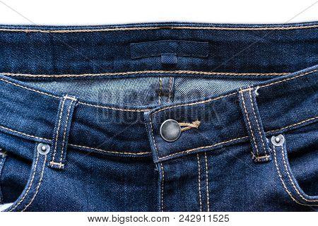 Close Up Of Blue Jeans Denim Jeans Background.