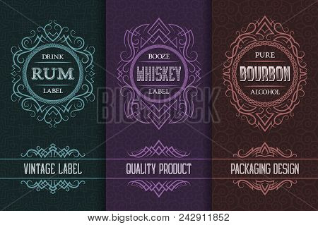 Vintage Packaging Design Set With Alcohol Drink Labels Of Rum, Whiskey, Bourbon.