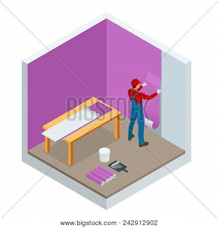 Isometric Painter Worker Painting Wall With Background Glue For A Wallpaper. Vector Illustration Of