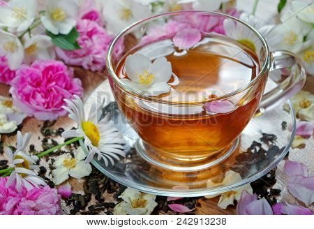 Green Tea With Jasmine. Herbal Tea. Flower Tea. Tea Rose, Chamomile And Jasmine.