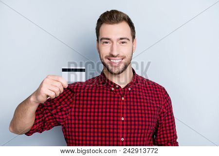 Concept Of Easy Using Of Credit Card. Portrait Of Excited Cheerful Happy Amazed Handsome Hipster Wea