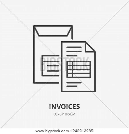 Invoice Flat Line Icon. Document Delivery In Envelope Sign. Thin Linear Logo For Legal Financial Ser