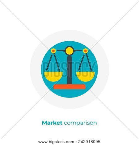 Business Comparison Flat Art Icon, Digital Investment Scales Vector Art, Cartoon Financial Balance I