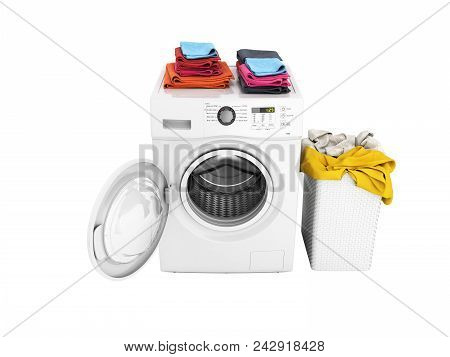 Concept Of Washing Clothes Washing Machine With An Open Door Colored Towels And Washing Basket With