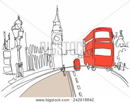 Digital Drawing Of London Tower Street With Red Bus And Big Ben In Minimalistic Style, Line Art Vect