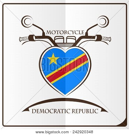 Motorcycle Logo Made From The Flag Of Democratic Republic