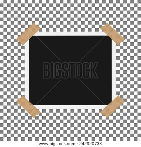 Blank Photo Polaroid Frame With Adhesive Tape Isolated On Transparent Background, Shadow Effect And