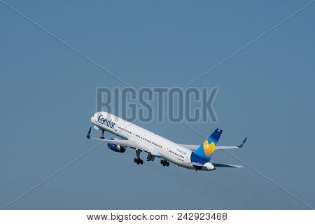 Berlin Germany - April 21. 2018: Condor Boeing 757-300 Airplane Take Off From Berlin Tegel Airport