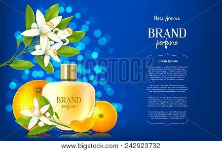 Ad Banner Of Luxury Perfume Brand. Realistic Glass Bottle On Blue Background With Citrus Flowers And