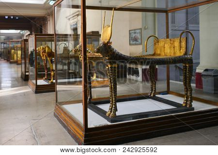 CAIRO, EGYPT - JANUARY 02 2016 : The artifacts in Egyptian Museum in Cairo.