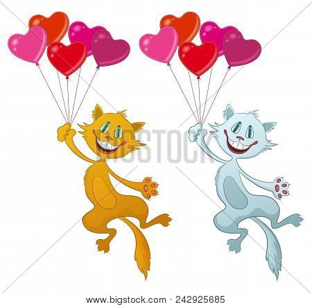 Set Of Cartoon Cats, Red And White Funny Pets, Smiling And Flying With Bundle Of Balloons In Shape O