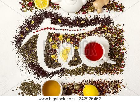 The Word Tea Made From Different Variety Of Tea. Tea Concept.